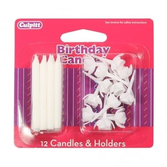 Candles and Holders x 12 White