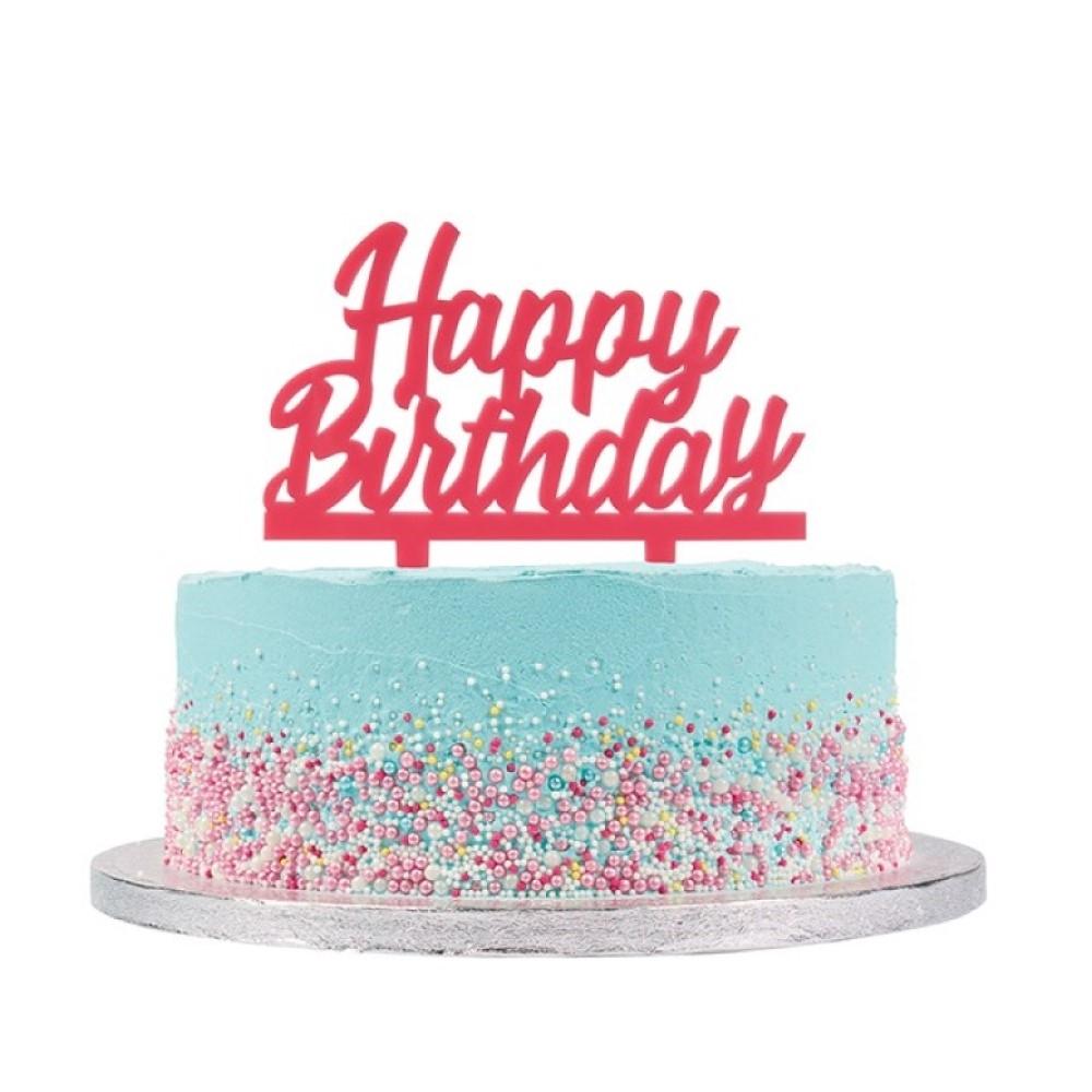 Awesome Pink Acrylic Happy Birthday Topper Pink Birthday Cake Toppers Personalised Birthday Cards Epsylily Jamesorg