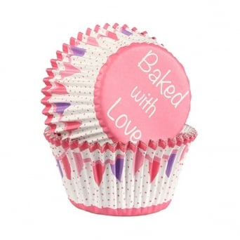 Pink Bunting - Foil Baking Cups x 25 - Baked With Love