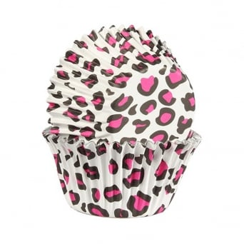 Pink Leopard Print - Foil Baking Cups x 25 - Baked With Love