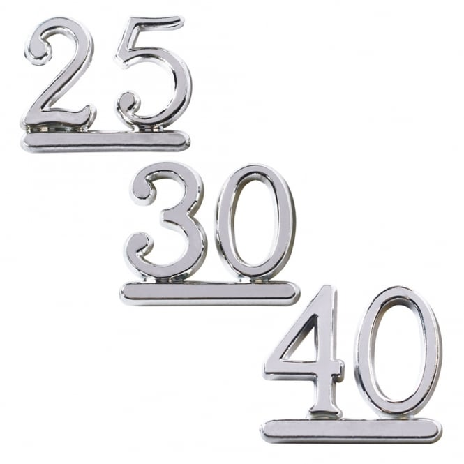 Culpitt Plastic Silver Numeral Topper - Choose A Number