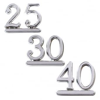 Plastic Silver Numeral Topper - Choose A Number