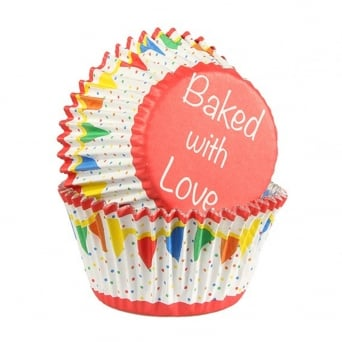 Primary Colour Bunting - Foil Baking Cups x 25 - Baked With Love
