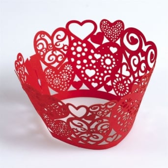 Red Heart Cupcake Wrappers x 12