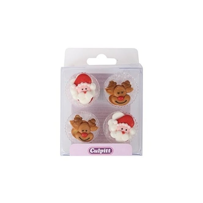 Culpitt Santa And Reindeer Edible Royal Icing Toppers x 12