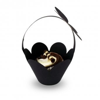 Cupcake Basket Wrappers - Butterfly Handles - Black x 12