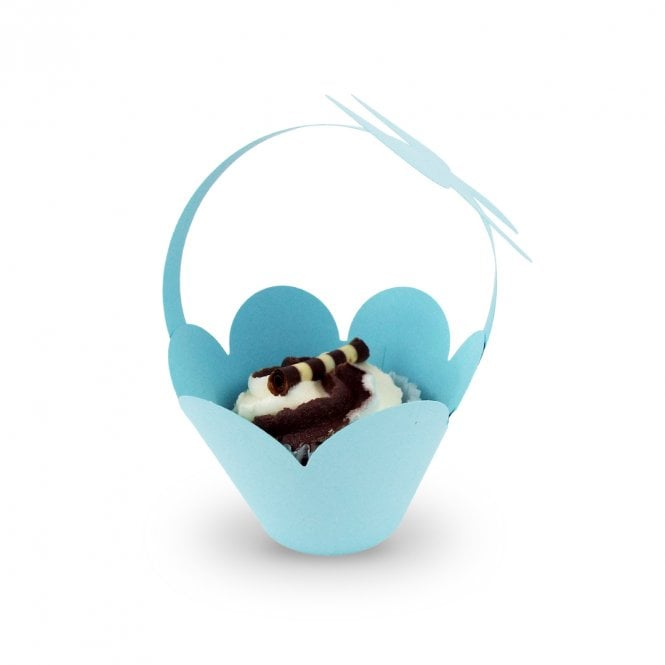 Cupcake Basket Wrappers - Butterfly Handles - Blue x 12