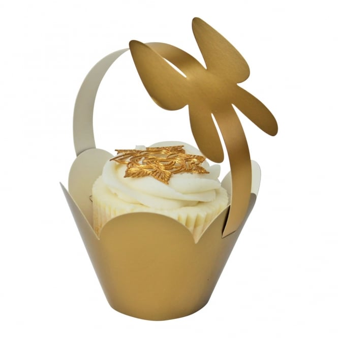 Cupcake Basket Wrappers - Butterfly Handles - Gold x 12