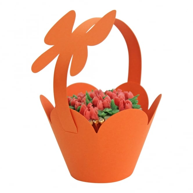 Cupcake Basket Wrappers - Butterfly Handles - Orange x 12