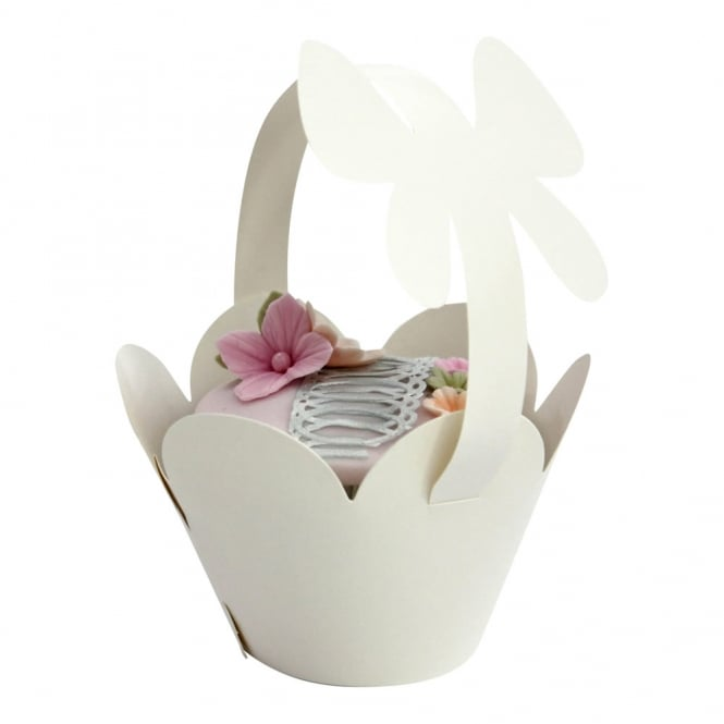 Cupcake Basket Wrappers - Butterfly Handles - Pearlised Ivory x 12