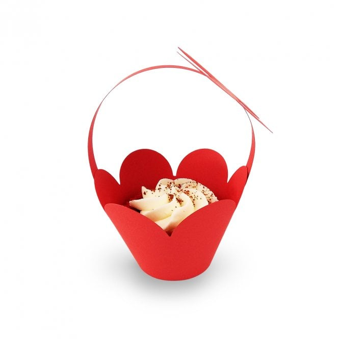 Cupcake Basket Wrappers - Butterfly Handles - Red x 12