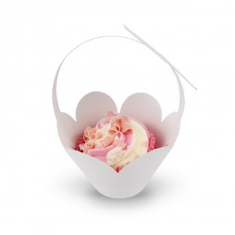 Cupcake Basket Wrappers - Butterfly Handles - White x 12