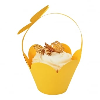 Cupcake Basket Wrappers - Butterfly Handles - Yellow x 12