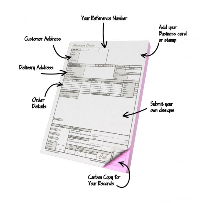 Customer Cake Order Pad - 50 Sheets
