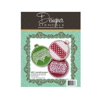 Christmas Lace Bauble Ornament Cookie Cutter Stencil Set By Designer Stencils