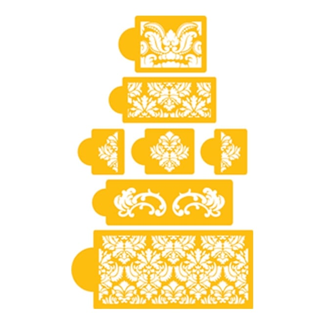 Cake Decorating Stencils Uk : Designer Stencils Damask Design Cake Set By Designer ...