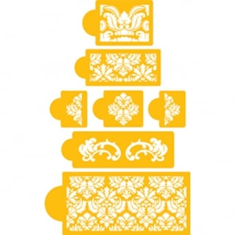 Damask Design Cake Set By Designer Stencils