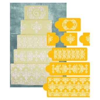 5 Tiered Lace Set Designer Cake Stencil