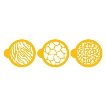 Animal Print Stencils - Set Of 3 - Durable Food Grade Designer Stencil