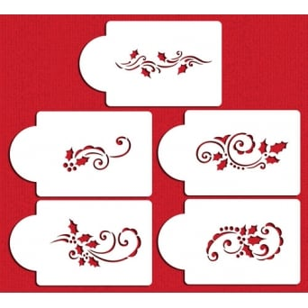 Holly And Berry Swirls Christmas Set Of 5 Designer Stencils