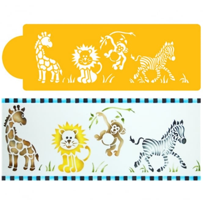 Designer Stencils Jungle Animals Side By