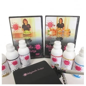 Black - Airbrushing Kit With 6 Colours For Chocolate And 2 DVDs