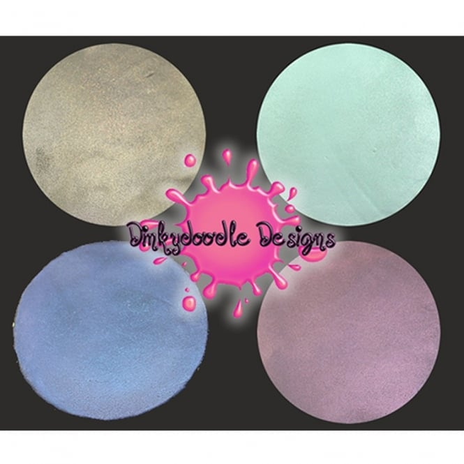Dinkydoodle Set Of 4x Iridescent Metallic Airbrush Paints For Chocolate And Sugarpaste