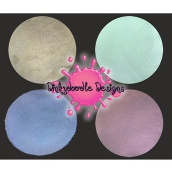 Set Of 4x Iridescent Metallic Airbrush Paints For Chocolate And Sugarpaste