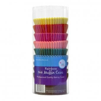 Rainbow Muffin Cases - 144 Multicoloured Baking Cases