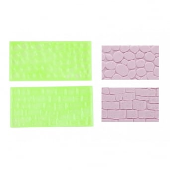 Stone Wall And Cobblestone Impression Mats Set 2