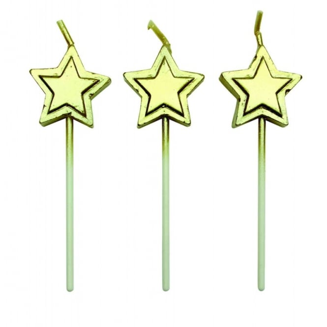 Gold Star Candles - Set of 8