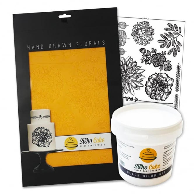 Silho Cake Hand Drawn Florals Silho Mould And 200g Black Mix