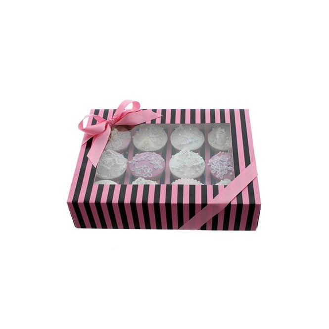 Cake Lace Holds 12 Luxury Satin Finish - Pink And Black Stripe Cupcake Box