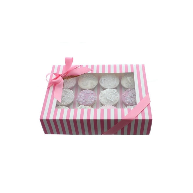 Cake Lace Holds 12 Luxury Satin Finish - Pink And White Stripe Cupcake Box