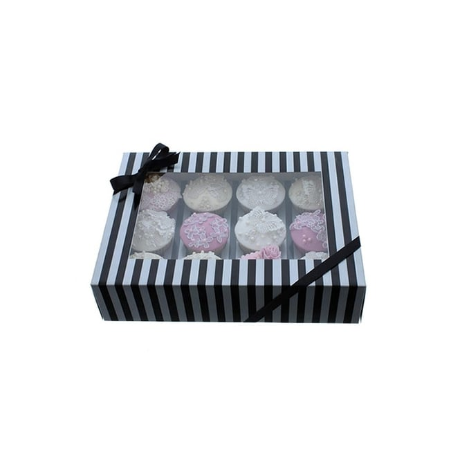 Cake Lace Holds 12 Luxury Satin Finish - Silver And Black Stripe Cupcake Box