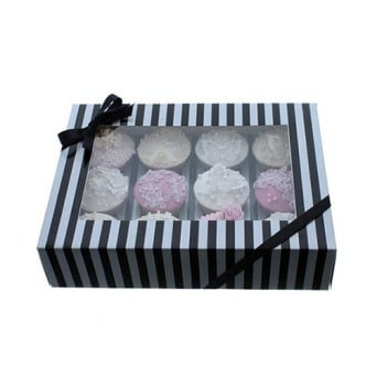 Holds 12 Luxury Satin Finish - Silver And Black Stripe Cake Lace Cupcake Box