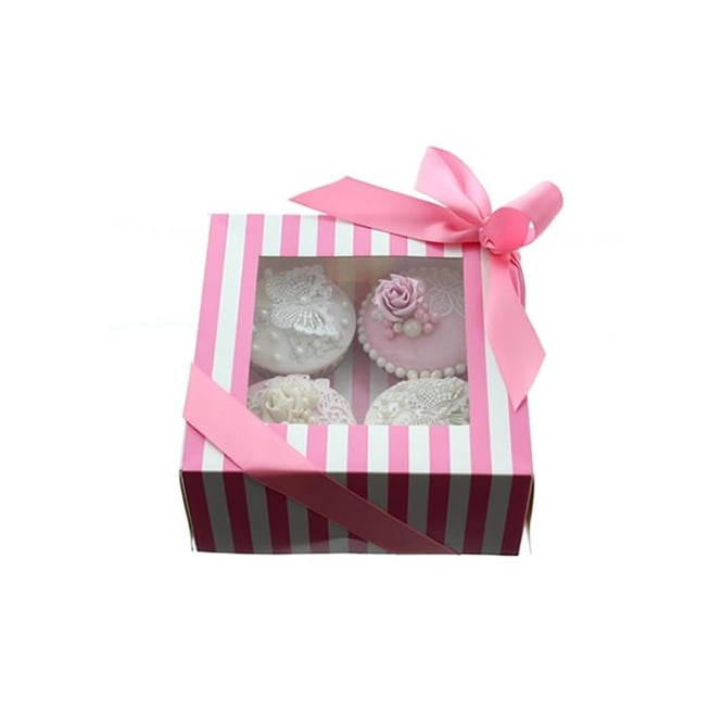 Cake Lace Holds 4 Luxury Satin Finish - Pink And White Stripe Cupcake Box