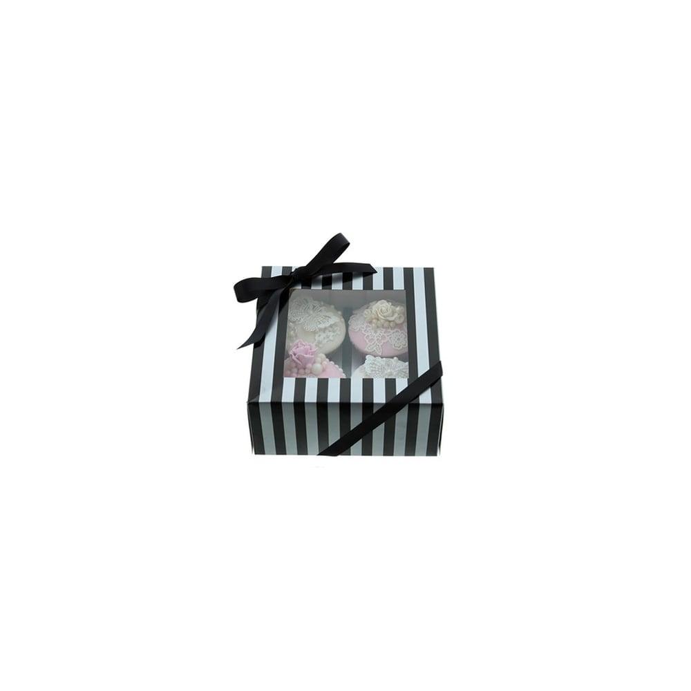 Luxury Satin Finish Silver And Black Stripe Cake Lace