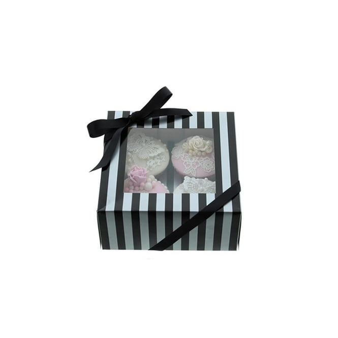 Cake Lace Holds 4 Luxury Satin Finish - Silver And Black Stripe Cupcake Box