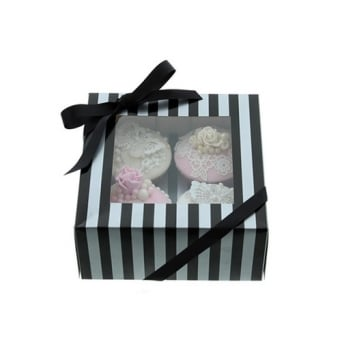 Holds 4 Luxury Satin Finish - Silver And Black Stripe Cake Lace Cupcake Box