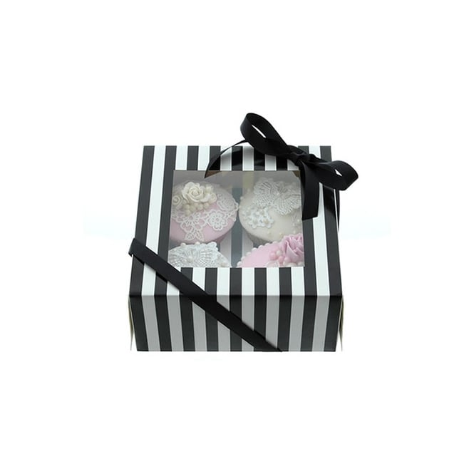 Cake Lace Holds 4 Luxury Satin Finish - White And Black Stripe Cupcake Box
