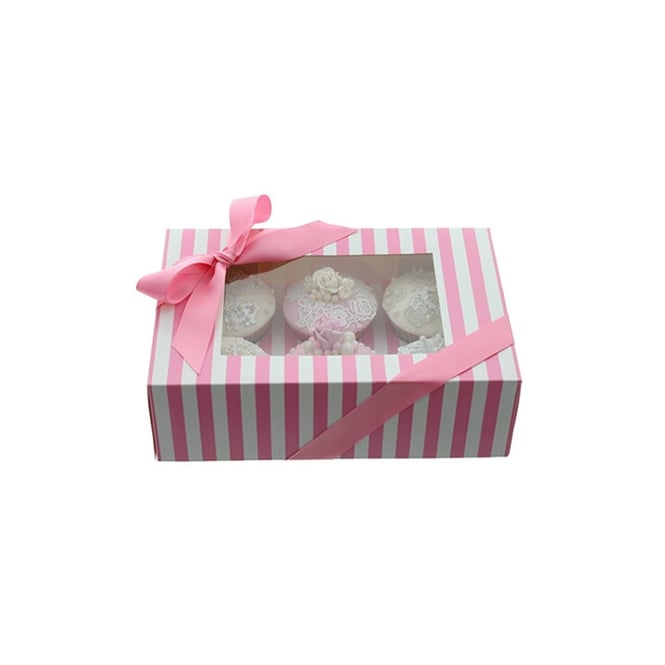 Cake Lace Holds 6 Luxury Satin Finish - Pink And White Stripe Cupcake Box