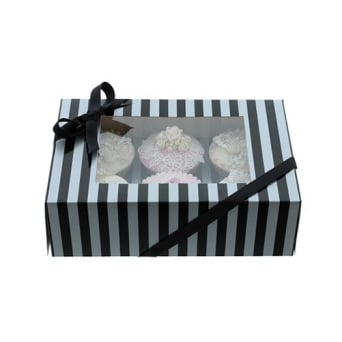 Holds 6 Luxury Satin Finish - Silver And Black Stripe Cake Lace Cupcake Box