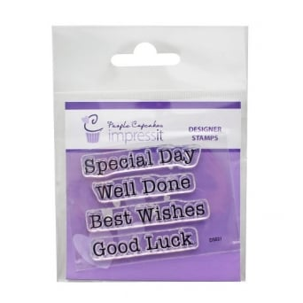 ImpressIt Best Wishes Well Done Stamp Set - Purple Cupcakes