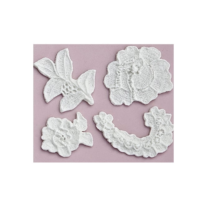 Karen Davies Lace Cut Out 4 Piece Rose Silicone Mould