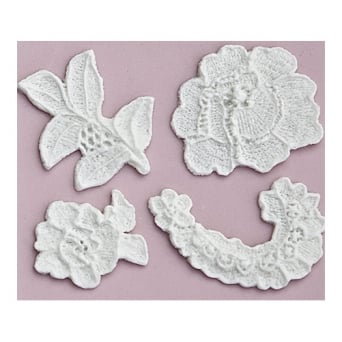Lace Cut Out 4 Piece Rose Silicone Mould