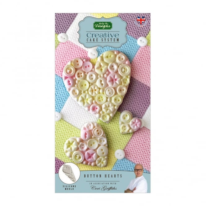 Katy Sue Designs Button Hearts Creative Cake System Mould Ceri Griffiths
