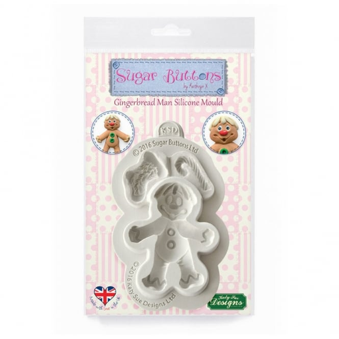 Katy Sue Designs Gingerbread Man Sugar Buttons Christmas Mould
