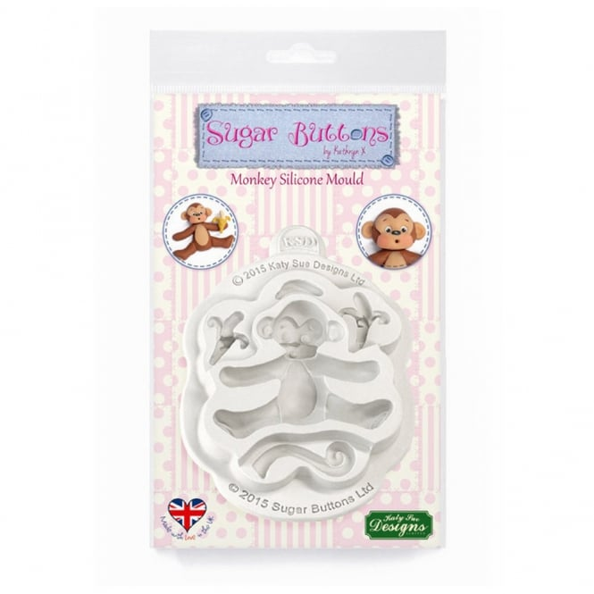 Katy Sue Designs Monkey Silicone Mould - Sugar Buttons