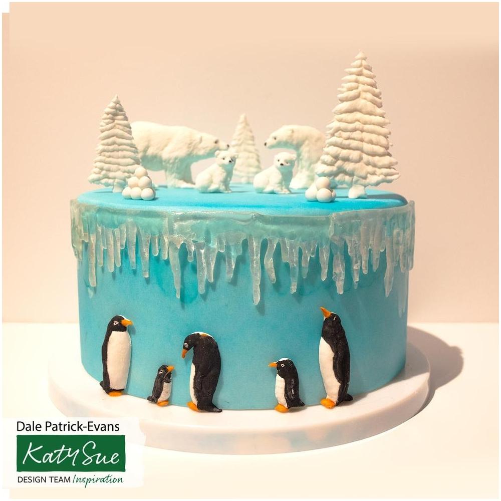 Grey Katy Sue Designs Penguin Family Silicone Mould